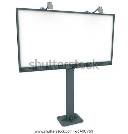 Outdoor billboard on white background - stock photo