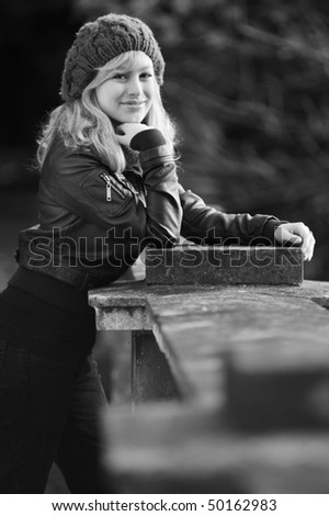 Outdoor Black And White Portrait - stock photo