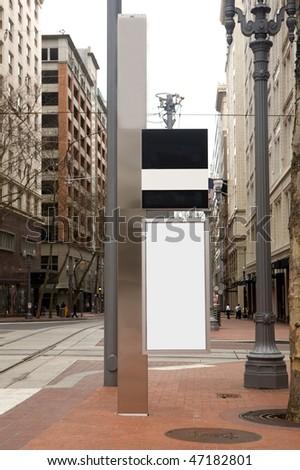 Outdoor blank sign on sidewalk - stock photo