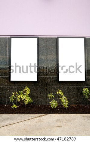 Outdoor blank wall signs - stock photo