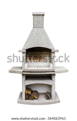 outdoor brick fireplace grill isolated - stock photo