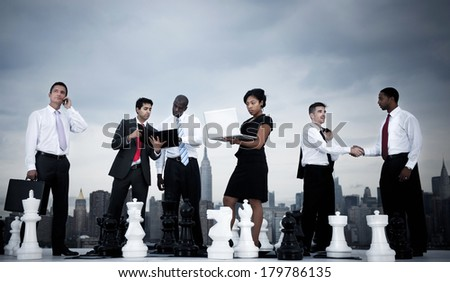 Outdoor Business Strategy with Chess - stock photo