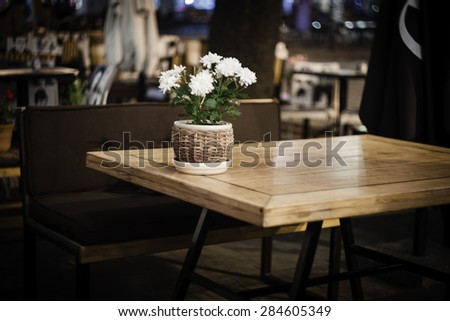 outdoor cafe at night - stock photo