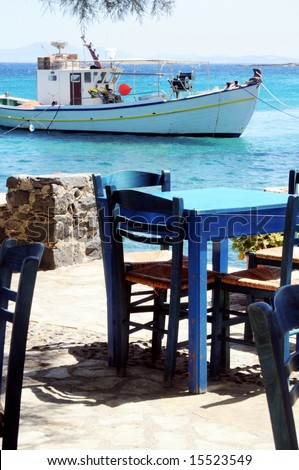 Outdoor cafe in Naxos, Greece - stock photo