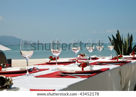 Outdoor cafe of luxury tropical resort decorated for Christmas celebration - stock photo