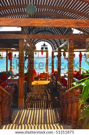 Outdoor cafe's interior. - stock photo