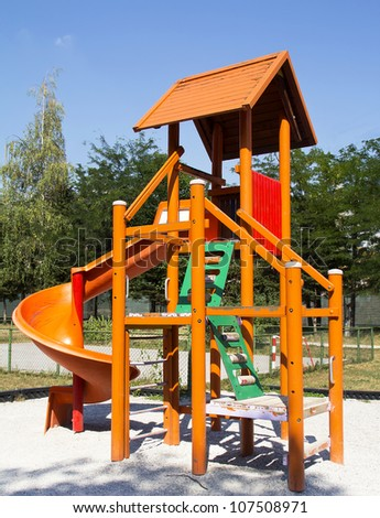 Outdoor Children Park Playground, in a  Sunny Summer Day - stock photo