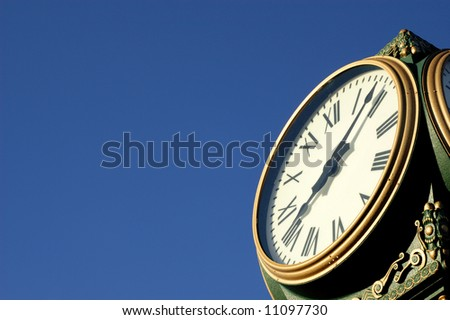Outdoor clock displays the time