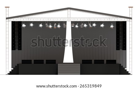 Outdoor concert stage isolated white background - stock photo