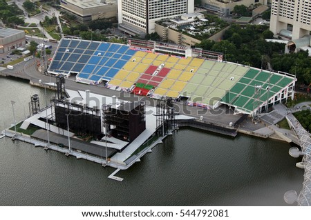 Outdoor concert venue on the banks of the Gulf of Marina Bay. Singapore.    July 18, 2011