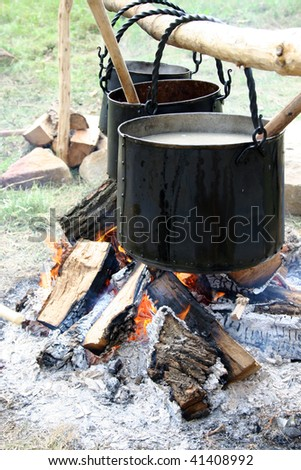 outdoor cooking - stock photo