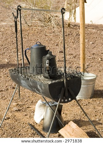 outdoor cooking at a civil war encampment at Picacho Peak State Park - stock photo