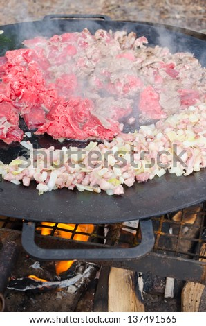 Outdoor cooking on camp fire - stock photo