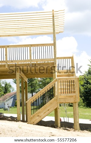 Outdoor deck. Wood construction - stock photo