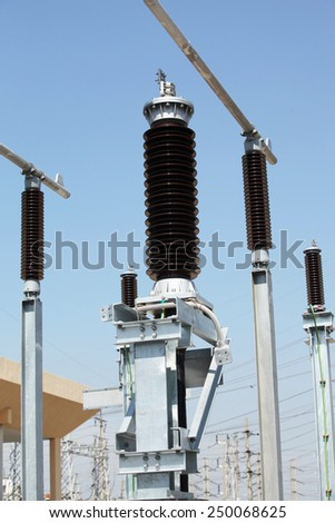 Outdoor extra high voltage power switchgear equipment.
