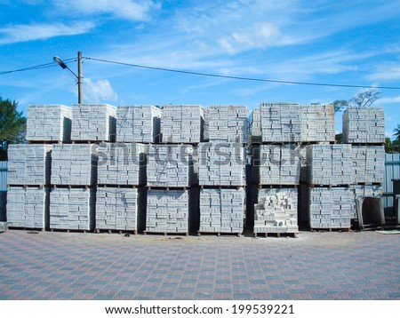 Outdoor Factory Warehouse - Storage Area for Construction Materials - stock photo