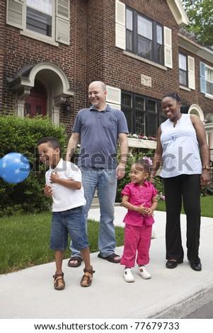 Outdoor family portrait - stock photo
