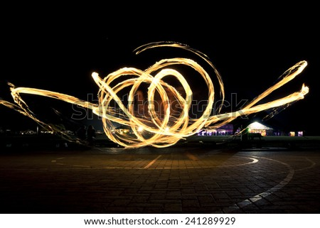 outdoor fire show - stock photo