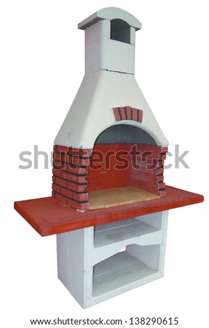 Outdoor fireplace - stock photo