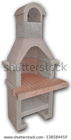 Outdoor fireplace / barbecue grill made from bricks and cement - stock photo