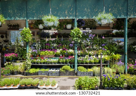 Outdoor flower shop in Paris, France - stock photo