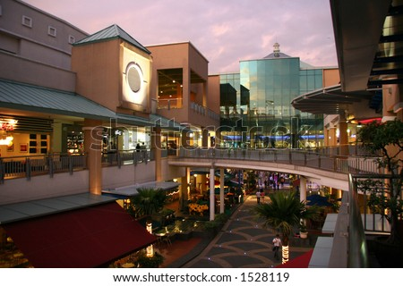 Outdoor food & drink concept at modern shopping mall - stock photo