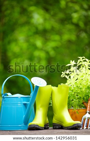 Outdoor gardening tools - stock photo