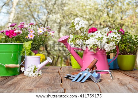 Outdoor gardening tools on old wooden table , Spring concept - stock photo