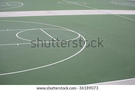 Outdoor green and white basketball court background - stock photo