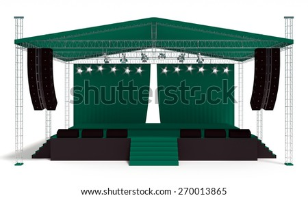 Outdoor green concert stage isolated white background - stock photo