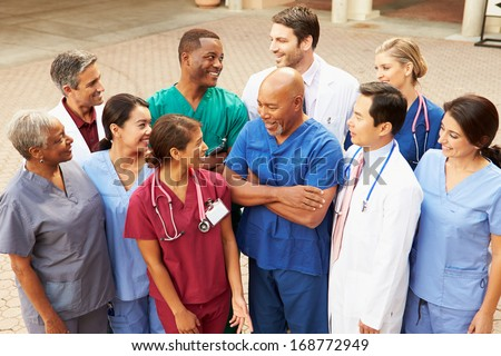 Outdoor Group Shot Of Medical Team - stock photo