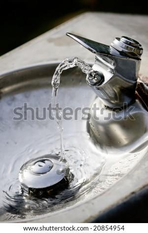 Outdoor Grungy Drinking Fountain - stock photo