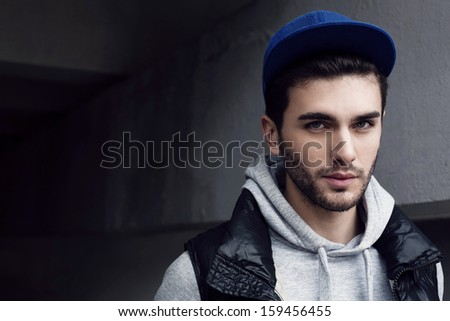 outdoor handsome man portrait - stock photo
