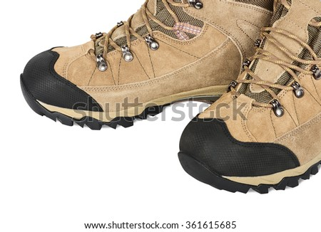 Outdoor hiking shoes. Isolated on white background - stock photo