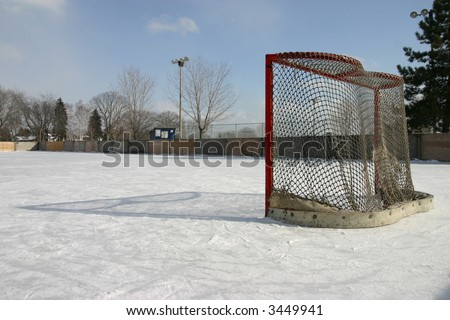 outdoor hockey net - stock photo
