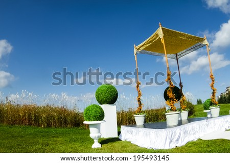 Outdoor Jewish Wedding ceremony and Chuppa - stock photo