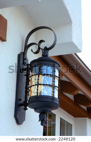 outdoor light fixture by front entrance