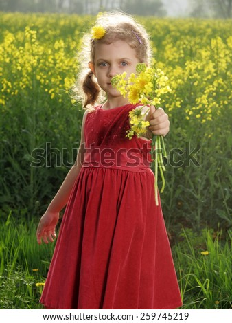 Outdoor little girl with bouquet of dandelions - stock photo