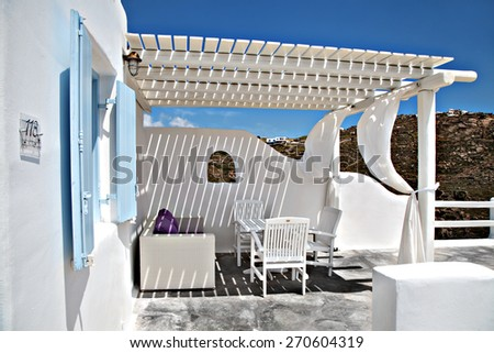 outdoor living room of  hotel on a greek island  the summer