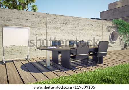 outdoor office (3D concept) - stock photo