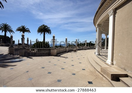 outdoor patio at hearst castle, california - stock photo