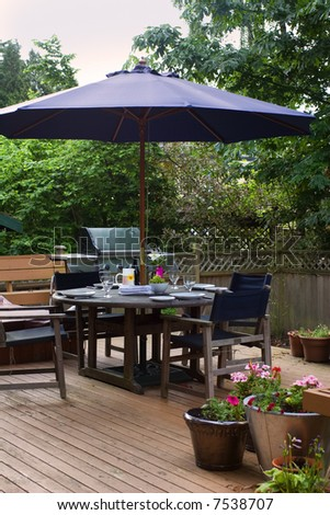 outdoor patio set for lunch - stock photo