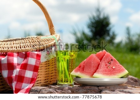 Outdoor picnic on at sunny day - stock photo