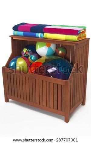Outdoor Pool Storage Bin with Beach Balls u0026 Towels  sc 1 st  Shutterstock & Outdoor Pool Storage Bin Beach Balls Stock Photo (Royalty Free ...