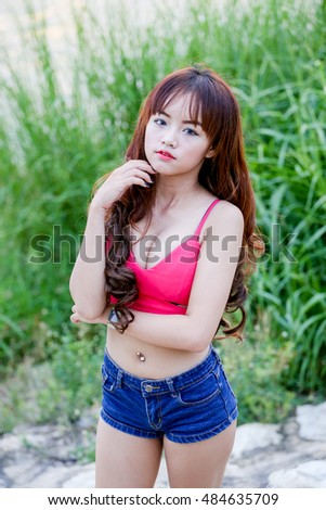 outdoor portrait Asian sexy women at the park