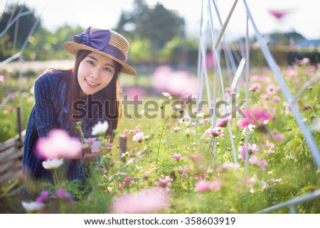 Outdoor portrait of a beautiful teenage asian girl vintage tone