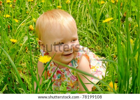 Outdoor portrait of a cute little girl in dress