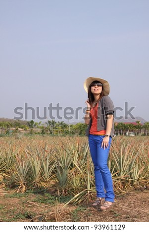 Outdoor portrait of asian woman - stock photo