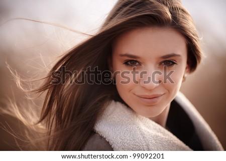 outdoor portrait of beauty girl - stock photo