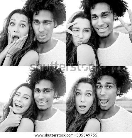 Outdoor portrait of  cheerful  young international couple shoes crazy  faces .  Friends having fun , emotional people, making self portrait. Collage. Black and white. - stock photo
